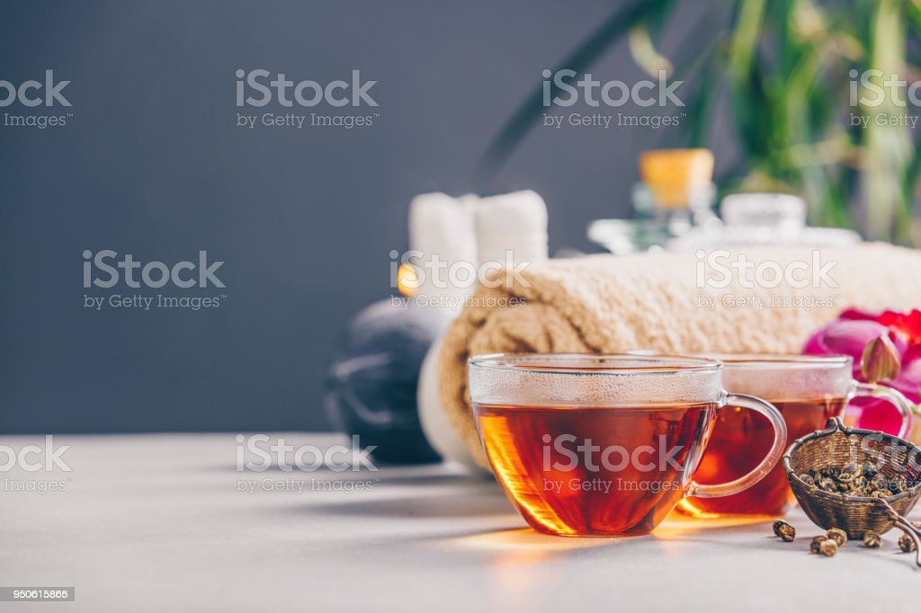 Tea and SPA composition stock photo