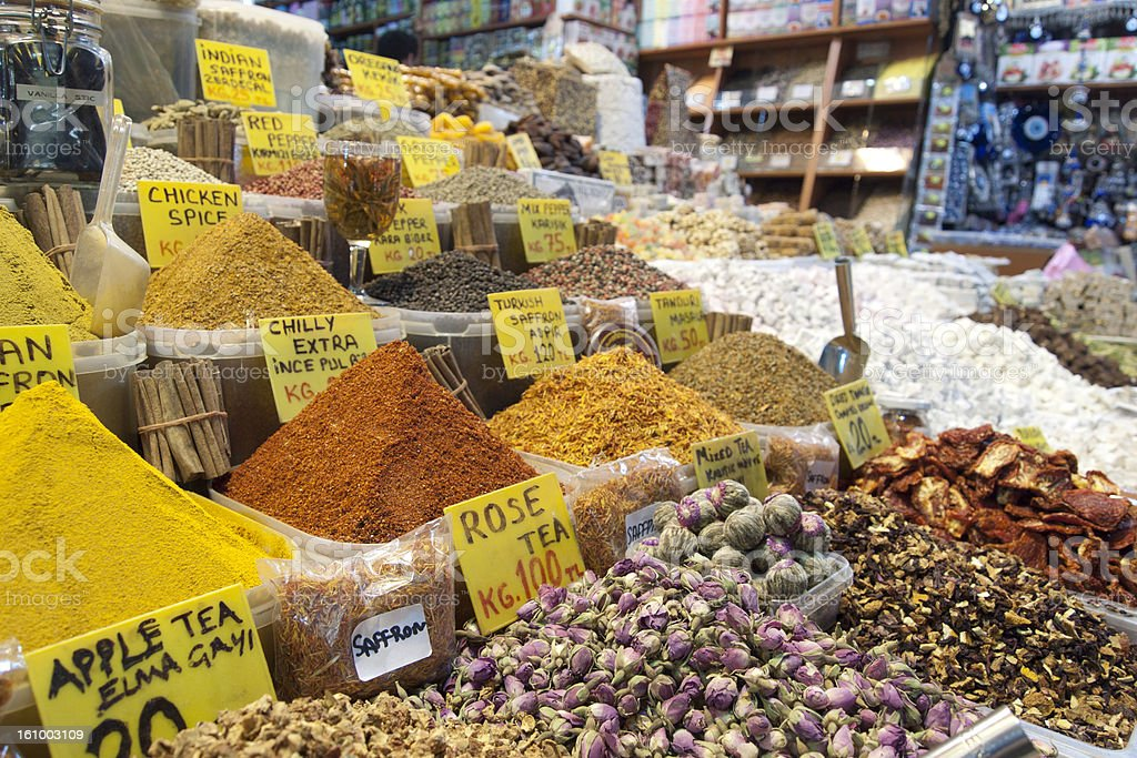 tea and spices at the spice bazaar, istanbul royalty-free stock photo