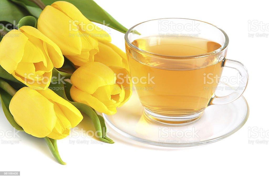 Tea and tulips royalty-free stock photo