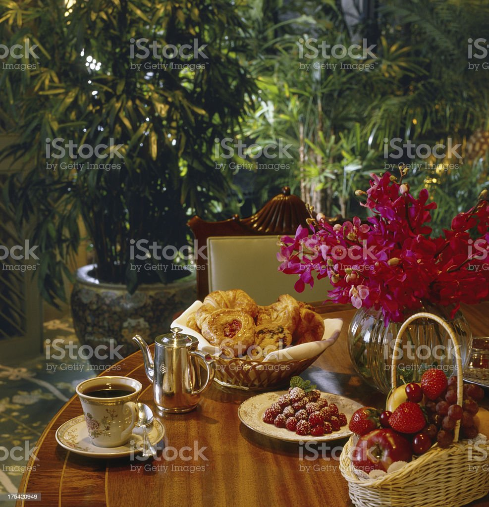 Tea, Assorted Pastries and Fruit royalty-free stock photo