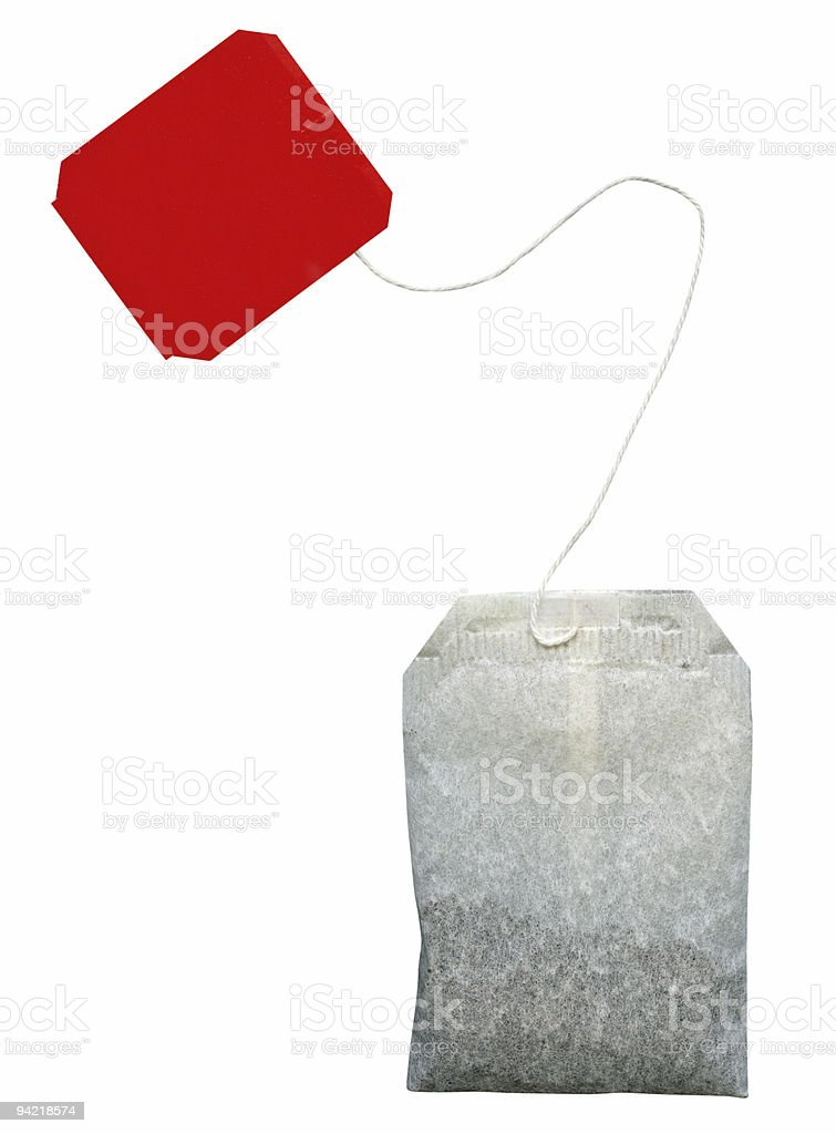Tea bag isolated with clipping path on white background stock photo