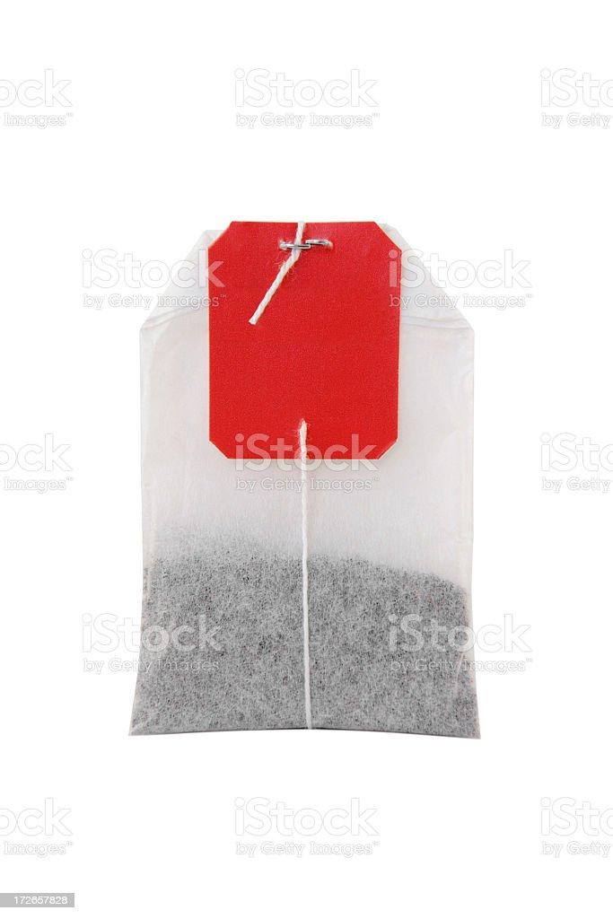 Tea bag on white background stock photo