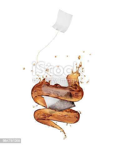 Tea bag with splashes in a swirling shape on white background