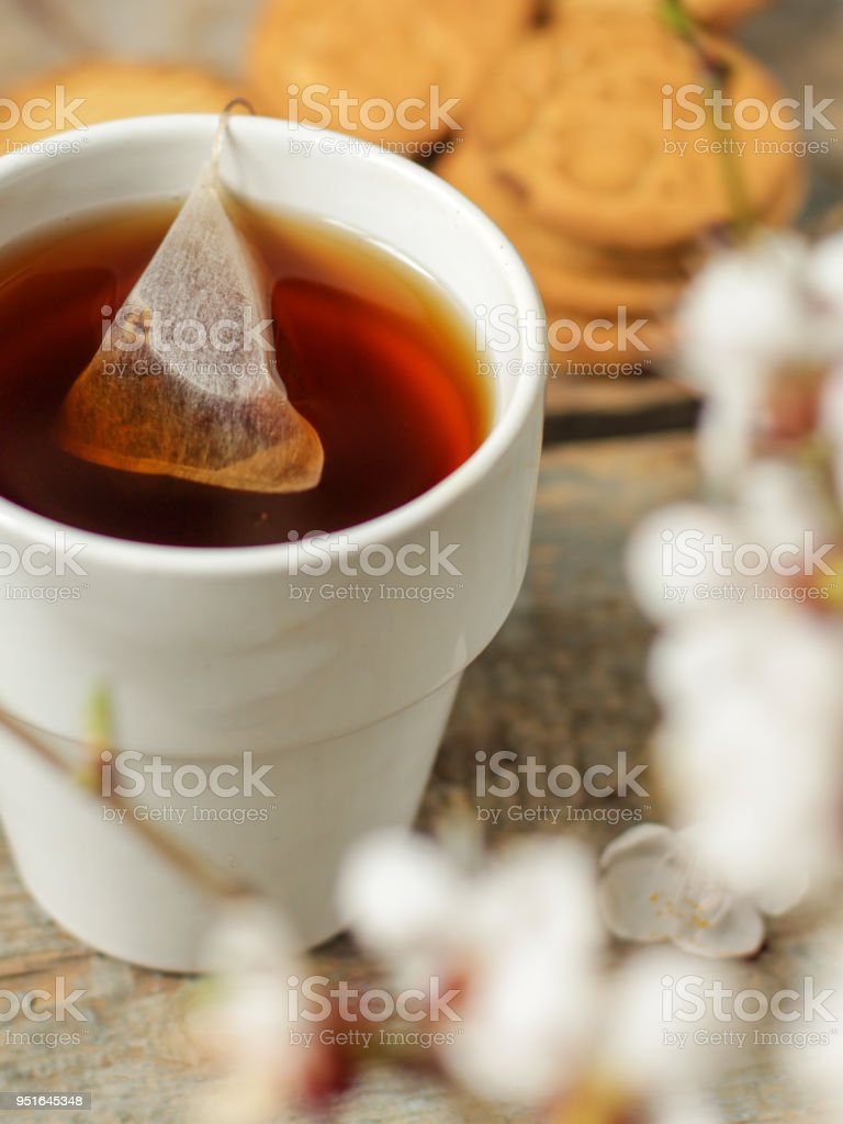 tea brew in a cup (tea bag) on a wooden table and flowering spring twigs. Food background - drink background stock photo