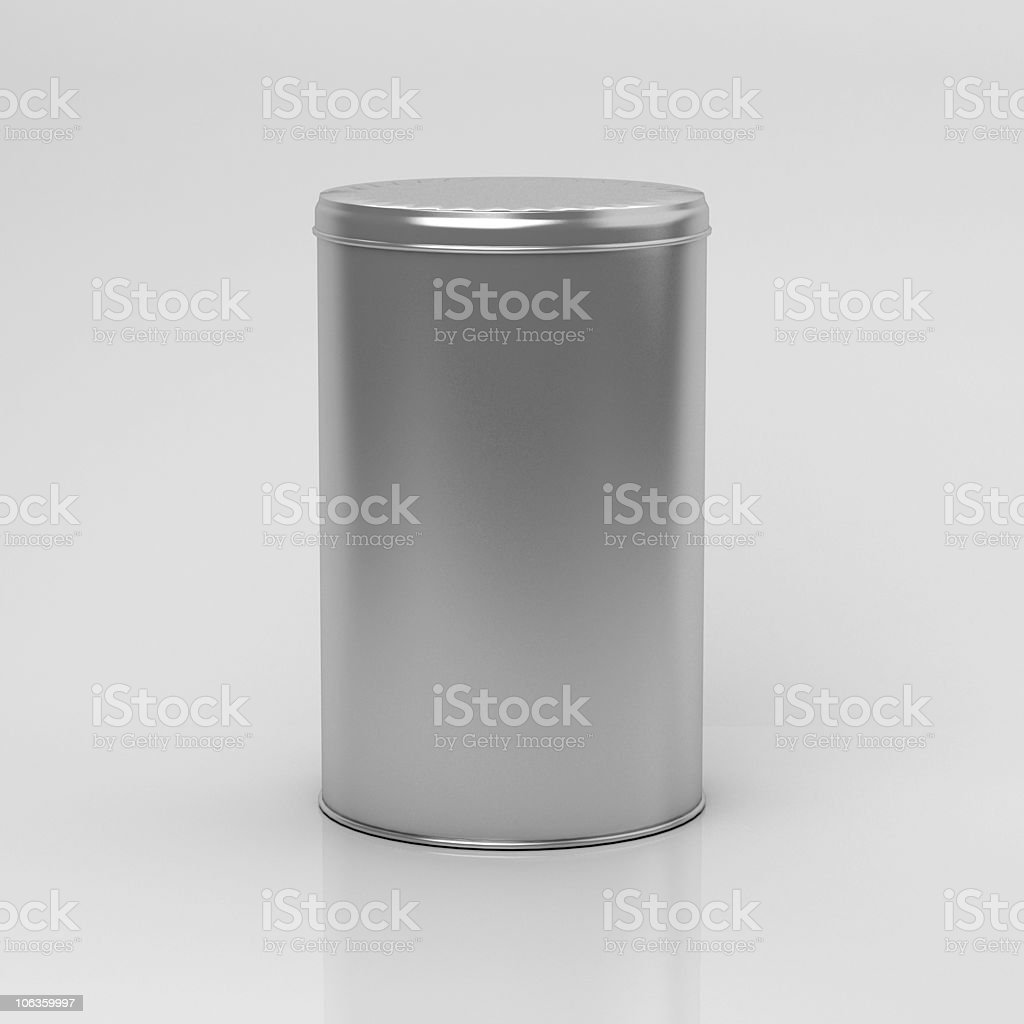 Tea can with lid on a white surface and background stock photo