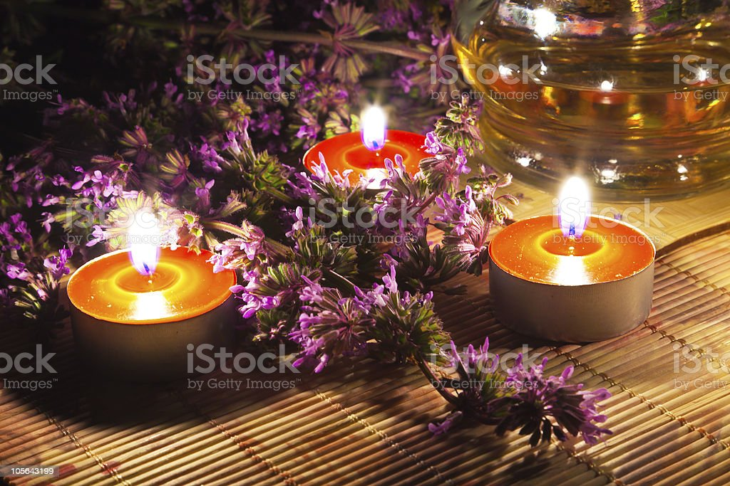 Tea candles and lavender stock photo