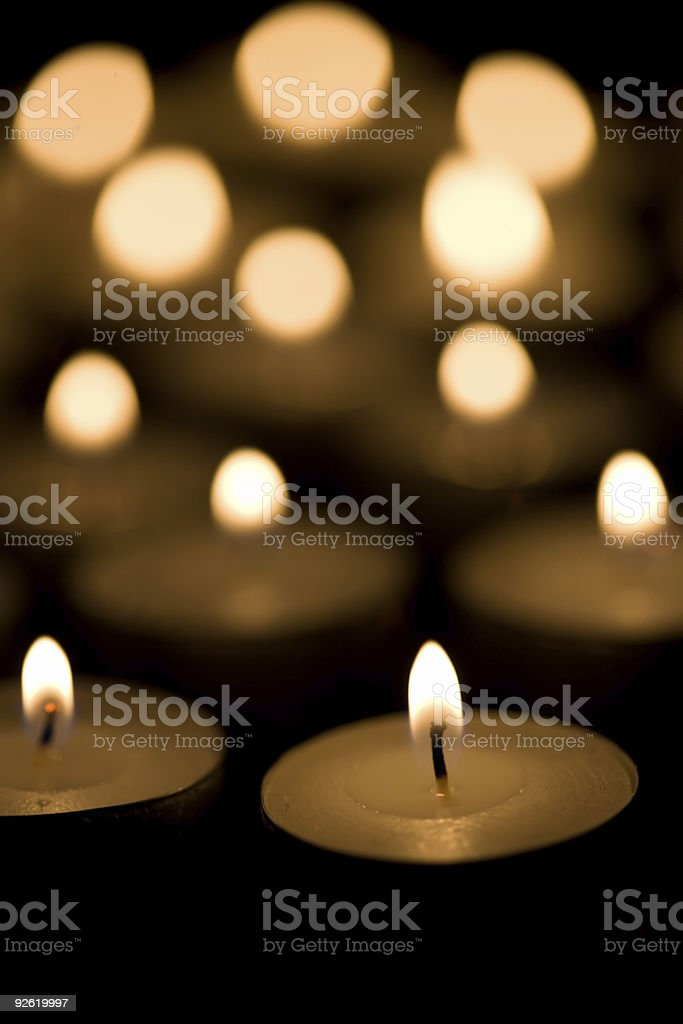 Tea candles - vertical royalty-free stock photo