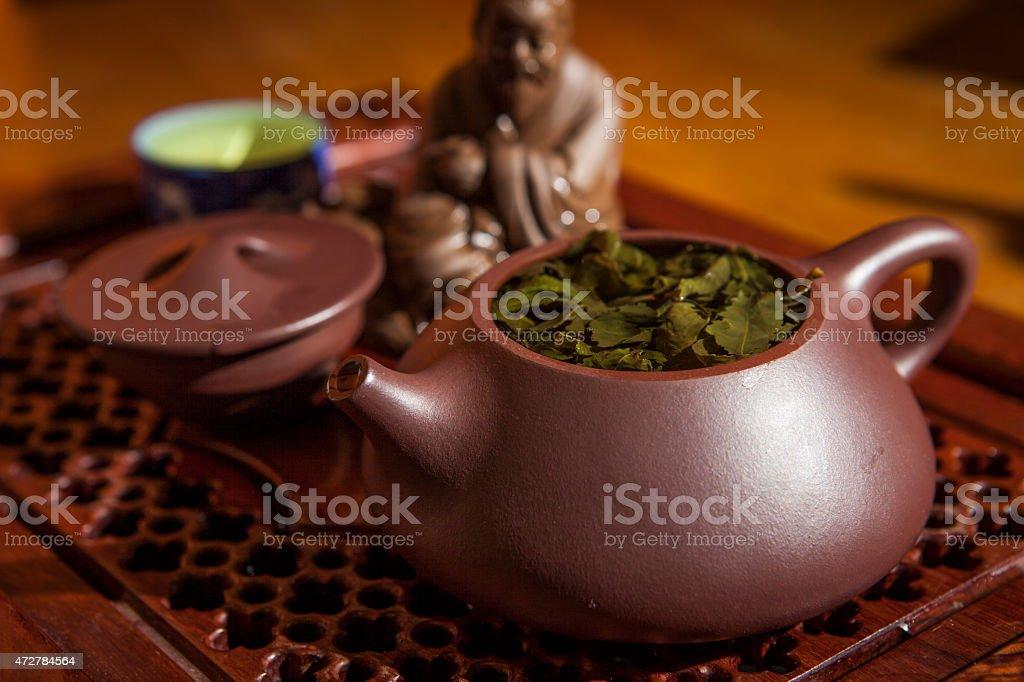 Tea ceremony still life. stock photo