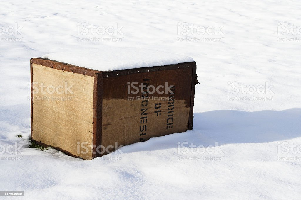Tea Chest Abandoned In Snow stock photo