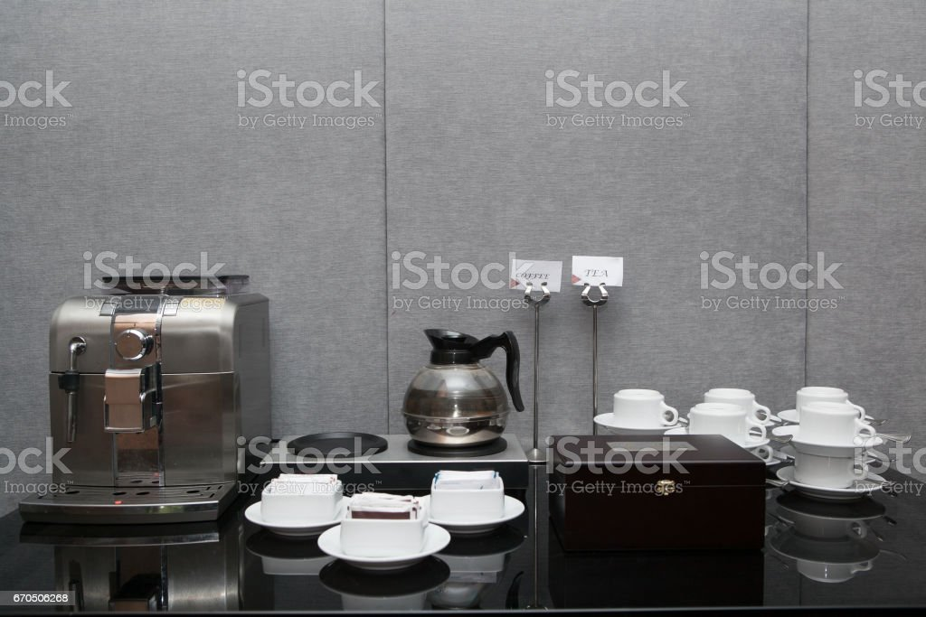 Tea coffee break food in meeting room ready to serve stock photo