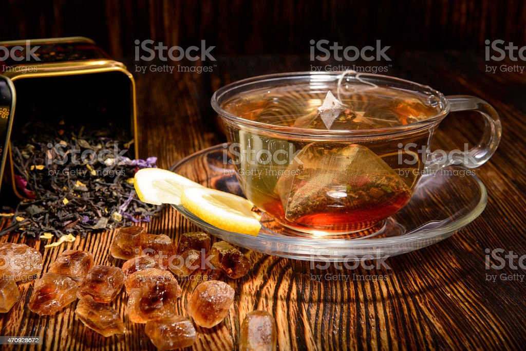 tea composition on a wooden background stock photo