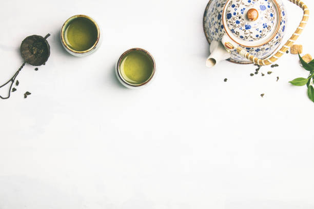 Tea composition on grey background stock photo
