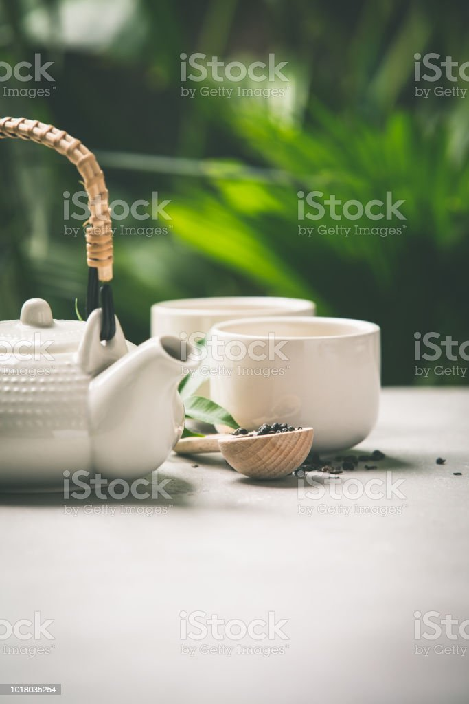 Tea composition on tropical leaves background stock photo