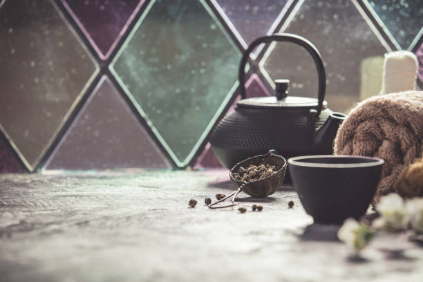 tea composition - spa belgium stock photos and pictures