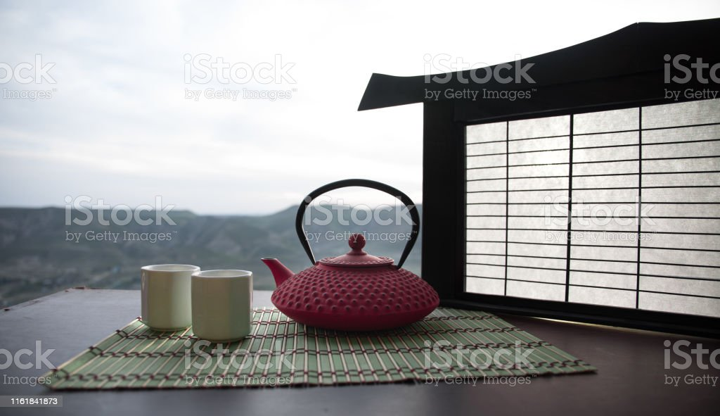 Tea concept. Japanese tea ceremony culture east beverage. Teapot and...