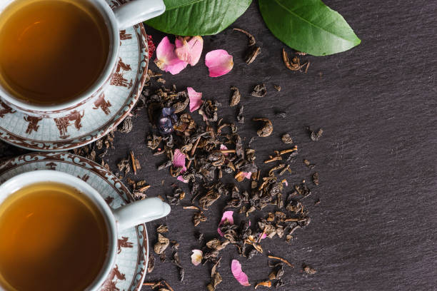 tea concept - tea leaf stock photos and pictures