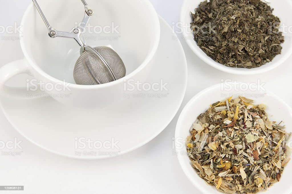 Tea cup and herbal teas royalty-free stock photo