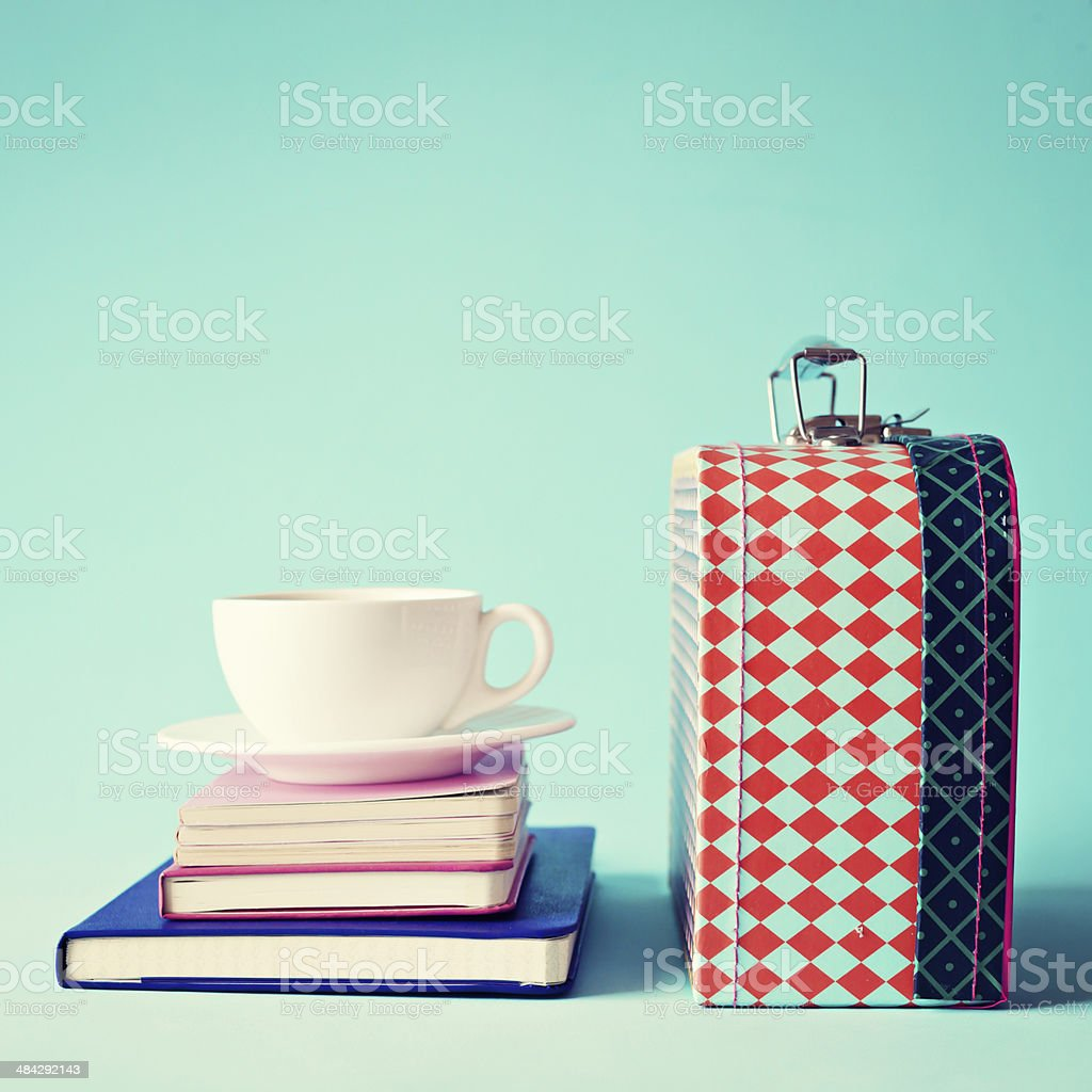 Tea cup and Lunch Box stock photo