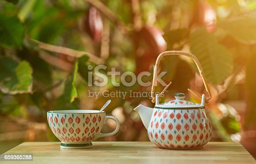 istock Tea cup and pot 659365288