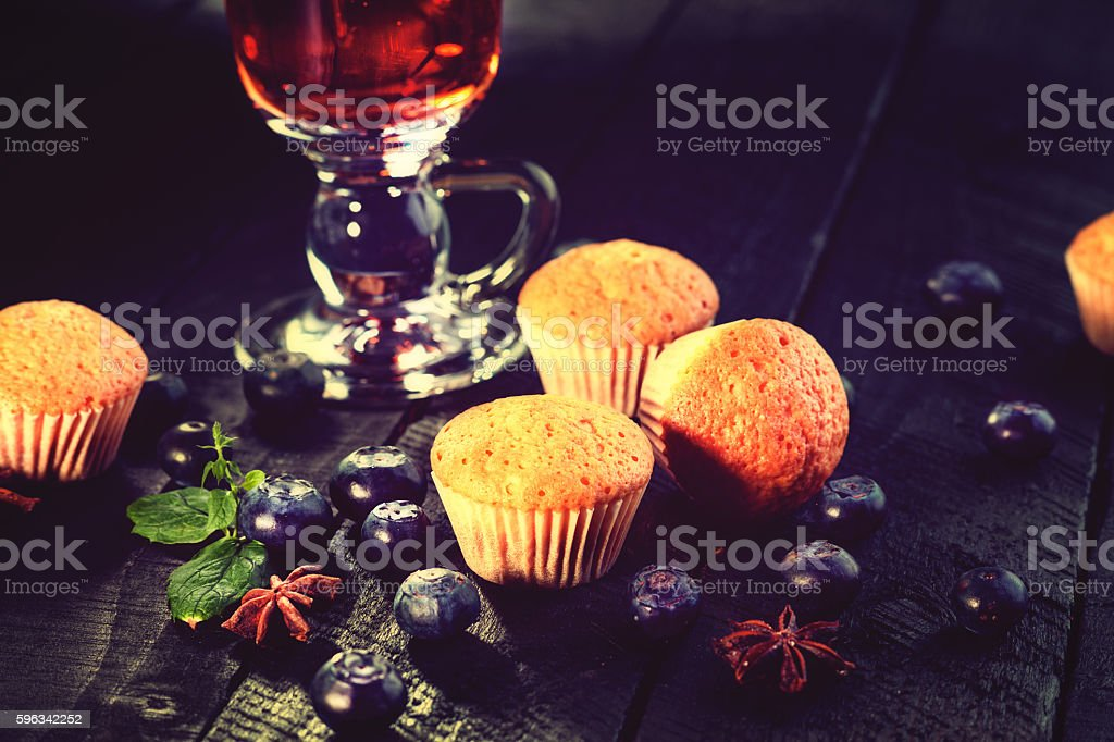 Tea cup, muffins and blueberry royalty-free stock photo