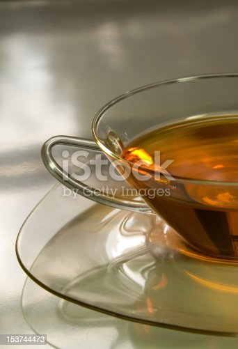 Cristal clear cup with tea