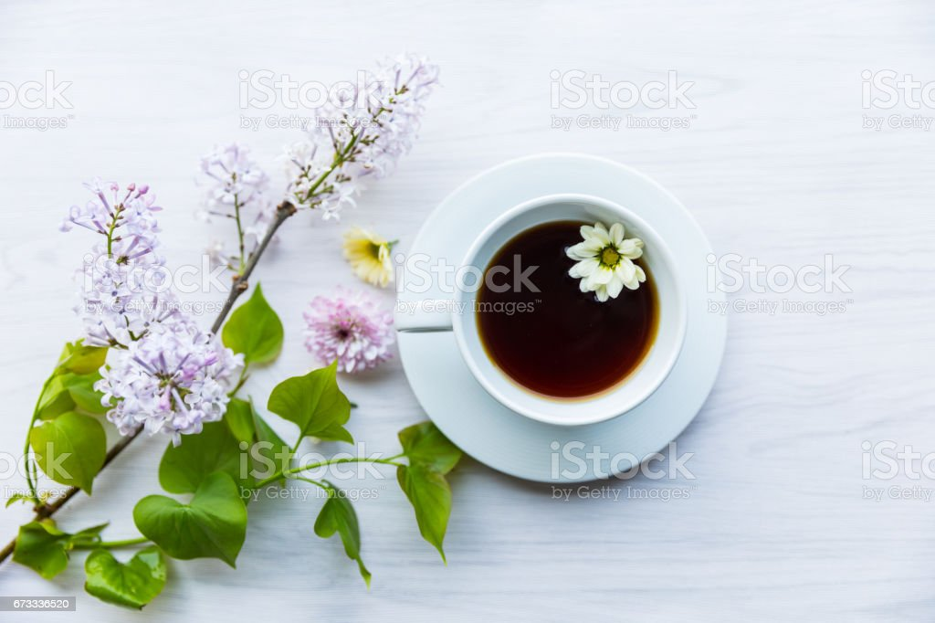 Tea cup with flowers stock photo