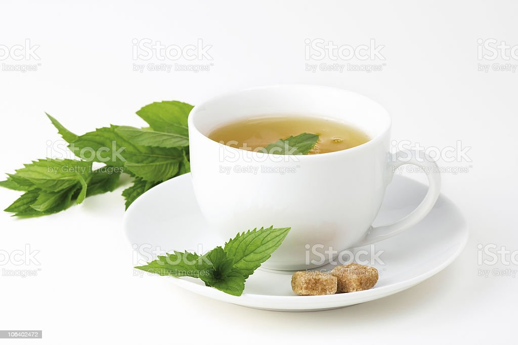 Tea cup with mint stock photo