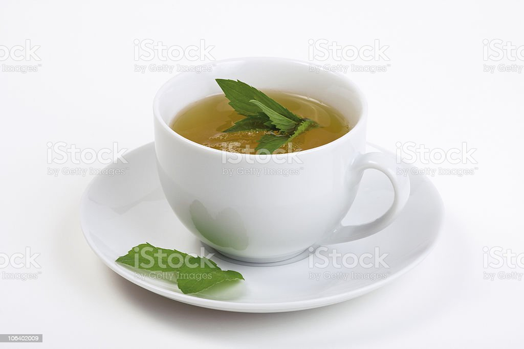 Tea cup with peppermint stock photo