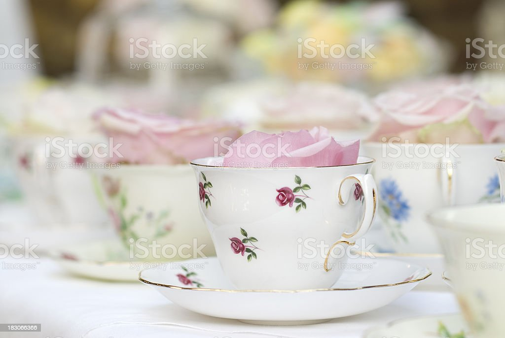 Tea cup with rose stock photo