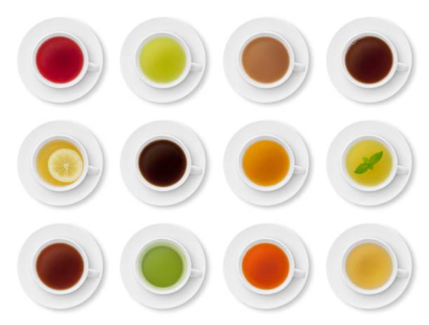 tee tassen collection (mit pfad) - grüner tee koffein stock-fotos und bilder