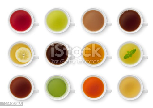 Collection of various teas and herbal teas isolated on white (excluding the shadow)