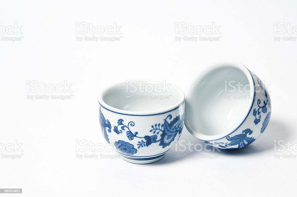 Tea cups on white background royalty-free stock photo