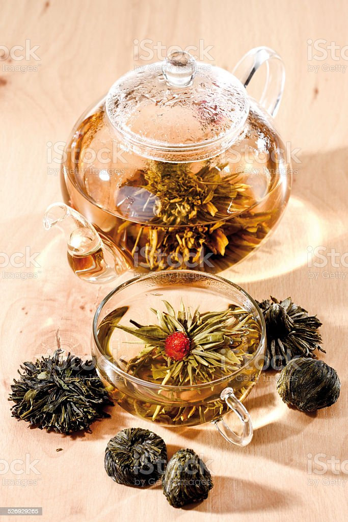 Tea Flowers and tea flower in teapot stock photo