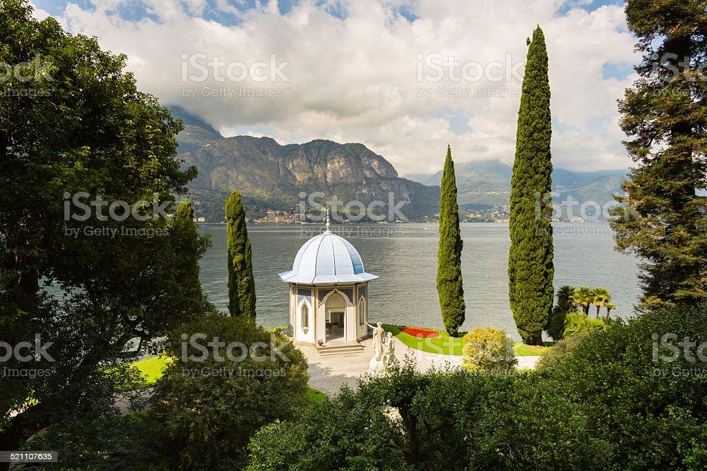 Tea house on the shore of Lake Como, Italy stock photo