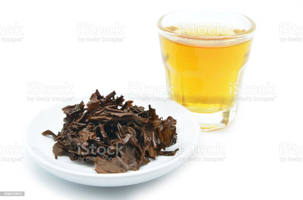 Tea in a glass cup stock photo