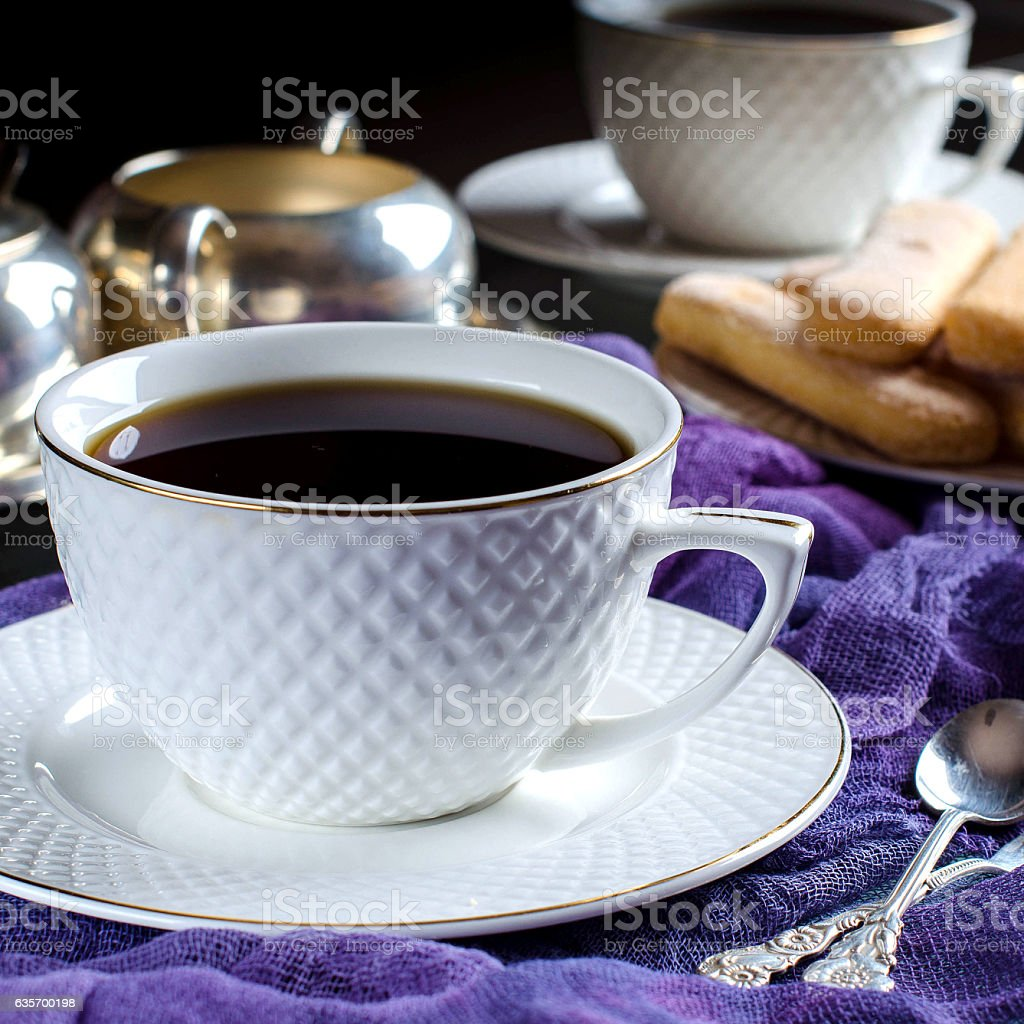 Tea in a white Cup. A dark photo. royalty-free stock photo