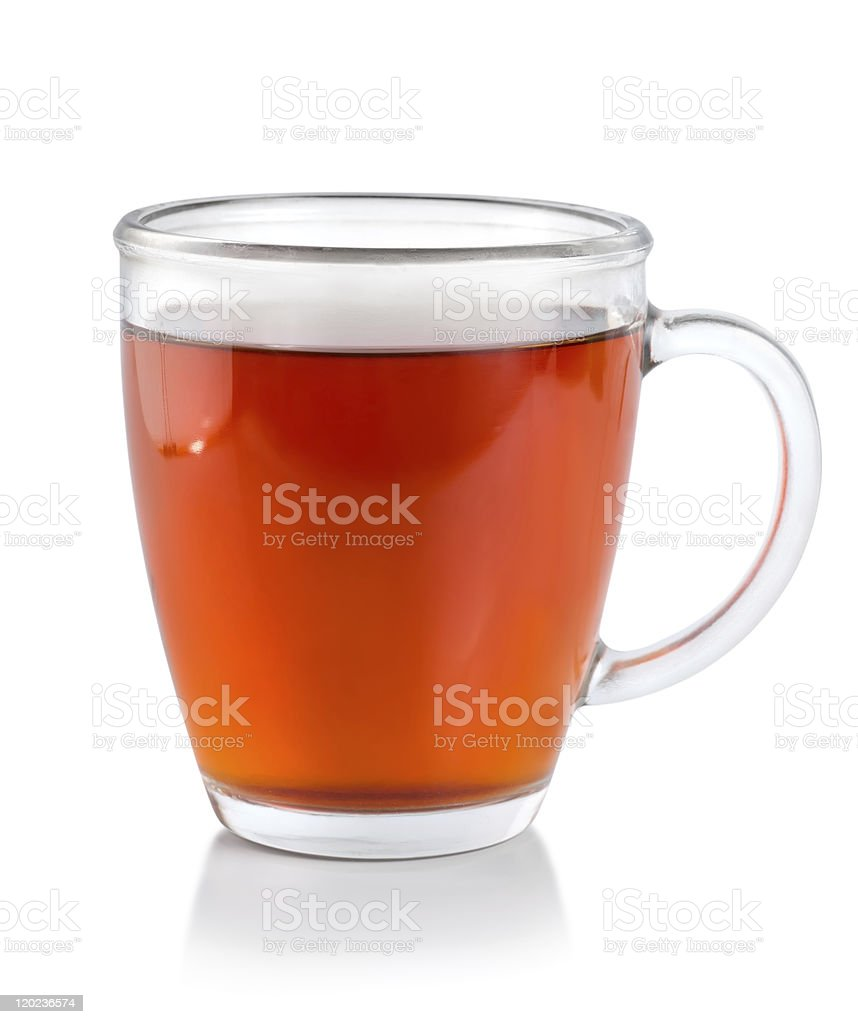 Tea in glass cup (Path) stock photo