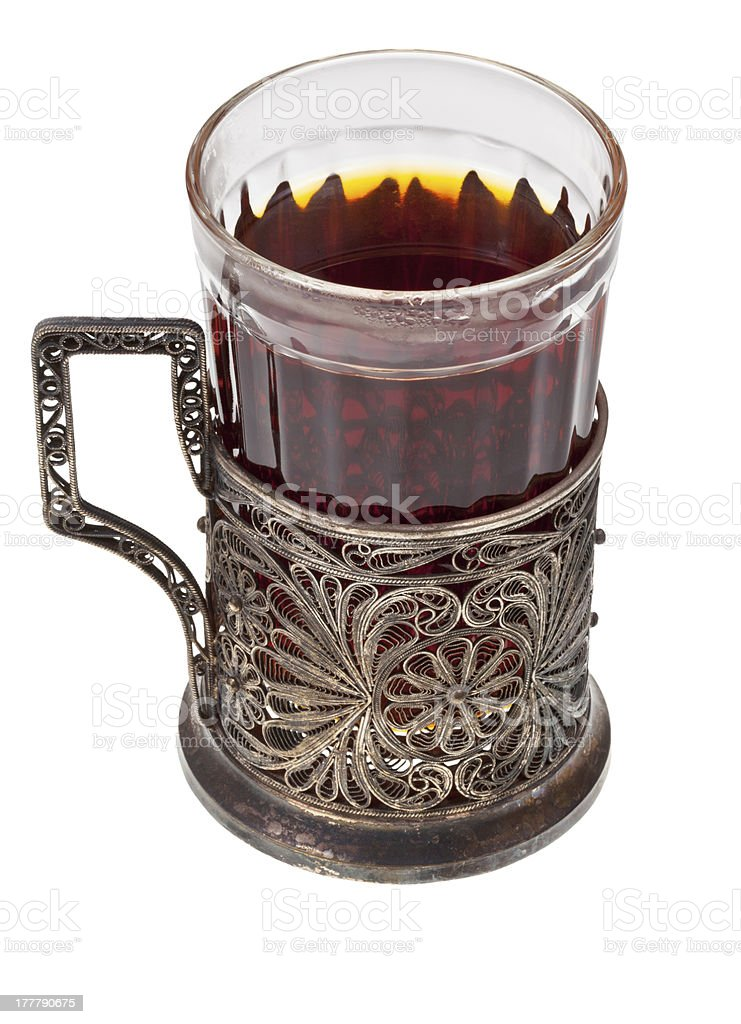 tea in vintage glass with glass-holder royalty-free stock photo