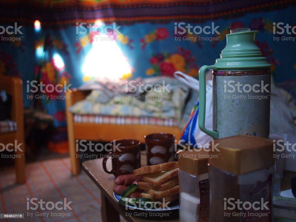 Tea Inside a Mongolian Ger stock photo