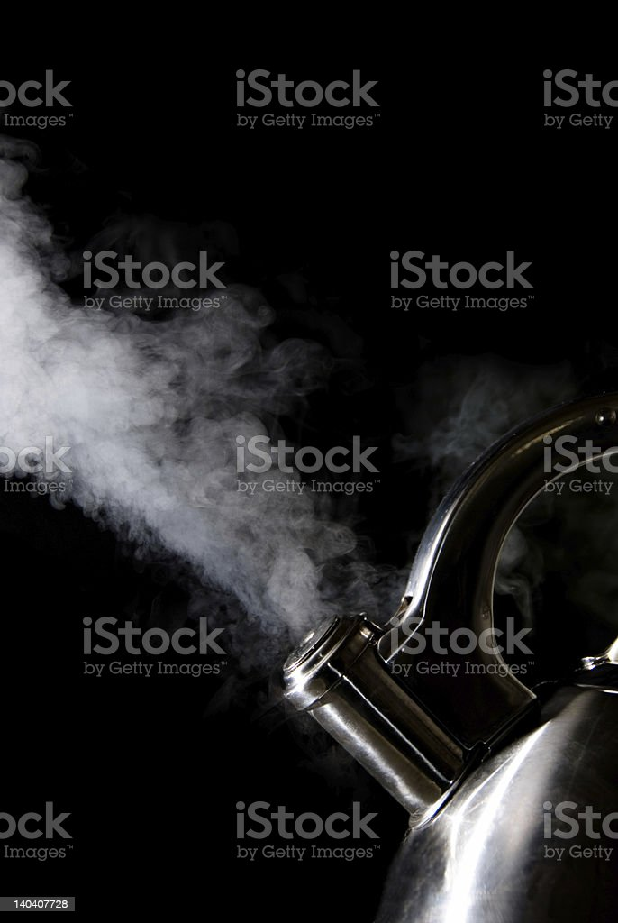 Tea kettle with boiling water royalty-free stock photo
