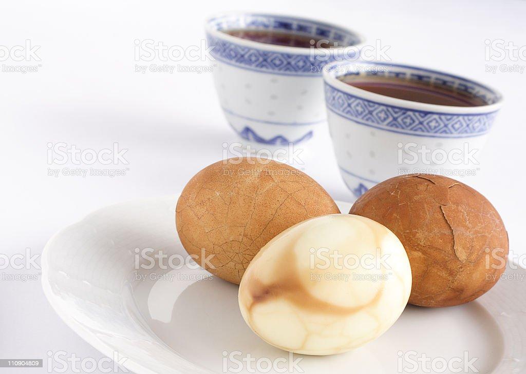 Tea leaf eggs stock photo