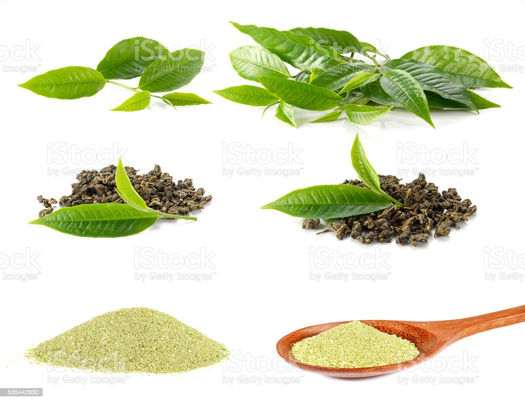 Tea leaves,Dry tea,Tea powder on white background. stock photo