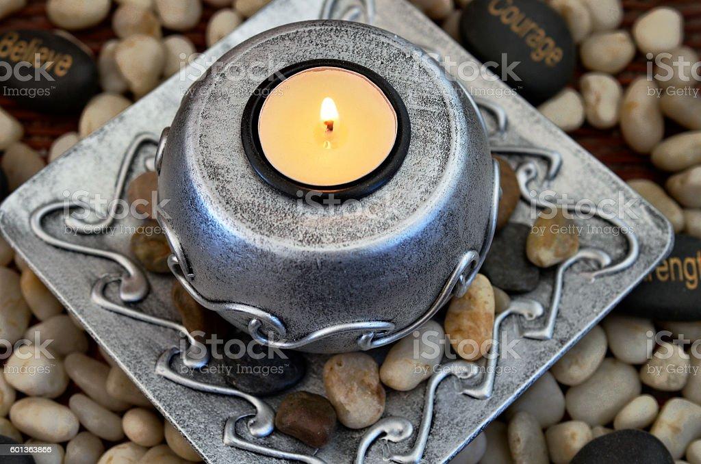 Tea Light Candle Close Up stock photo