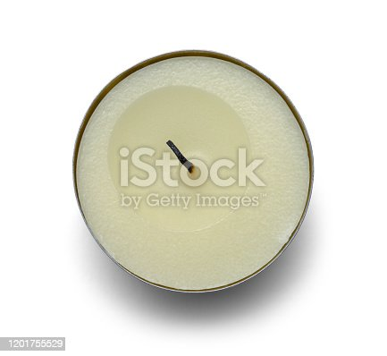 Top View of Burnt Tea Light Candle Isolated on White Background.