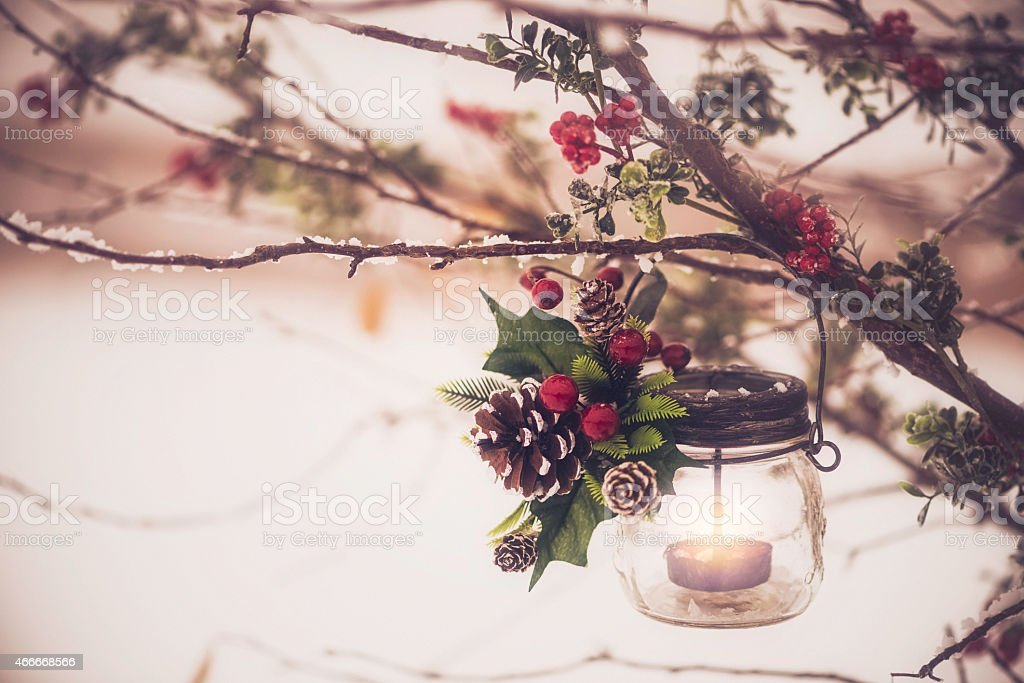 Tea light lantern with candle hanging on winter tree branches stock photo