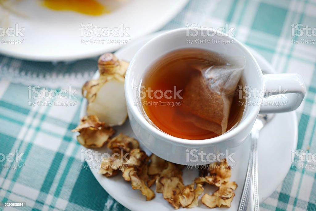 Tea maker Helianthus tuberosus Hot drinks stock photo