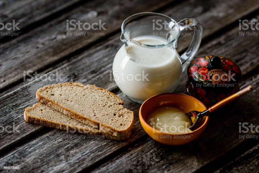 tea milk wood background stock photo