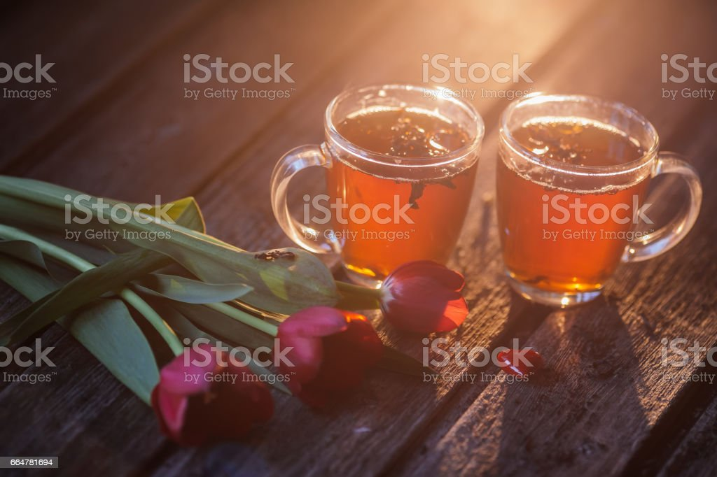tea milk wood background stock photo