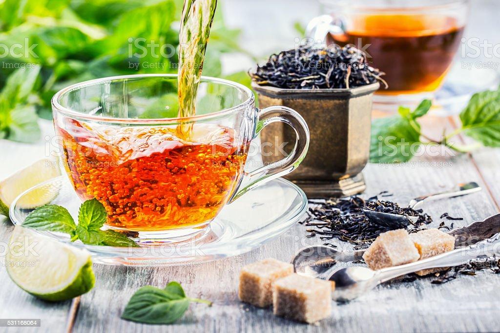 Tea. Mint Tea. Herbal tea. Mint leaf. Mint leaves. stock photo