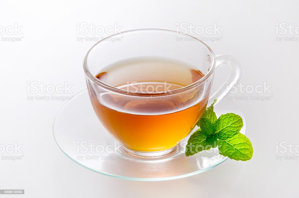 Tea of the herb made with mint stock photo
